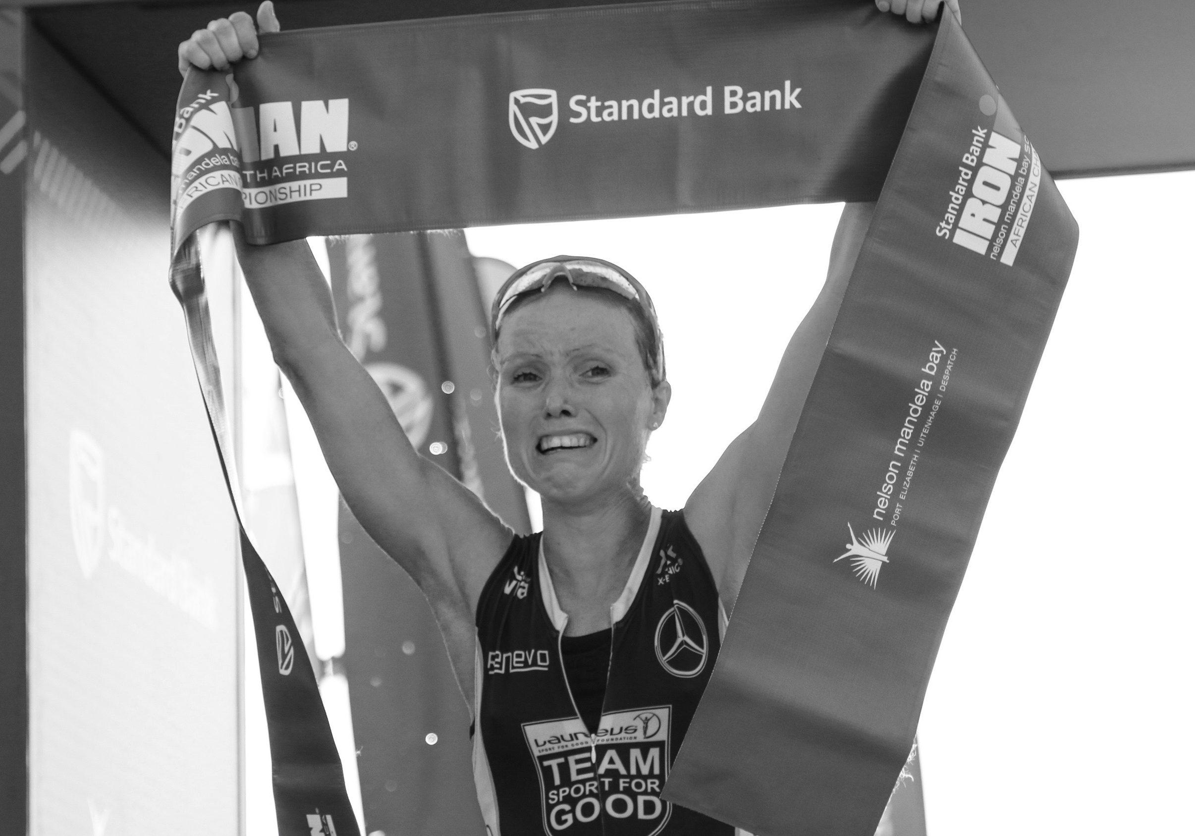 Kaisa Lehtonen : Finish: Action during the Standard Bank IRONMAN African Championship at Nelson Mandela Bay, Port Elizabeth on April 10th, 2016 in Port Elizabeth, South Africa